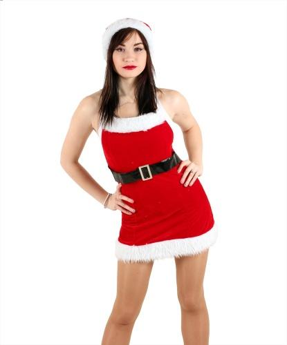 Новогоднее платье Санты: колпак, платье, пояс (Китай)