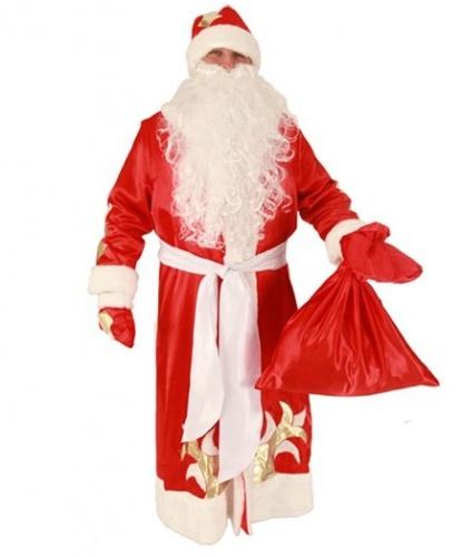 Карнавальный костюм Дед Мороз: шуба, рукавицы, кушак,мешок, шапка (Россия)