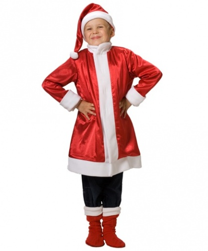 Санта детский костюм: шубка, шапка, сапоги (Россия)