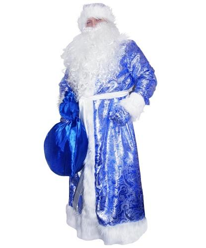 Карнавальный костюм Дед Мороз жаккардовый (синий): шуба, рукавицы, кушак, мешок, шапка (Россия)