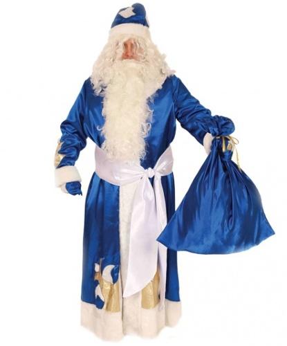 Карнавальный костюм Дед Мороз (синий) : шуба, рукавицы, кушак, мешок, шапка (Россия)