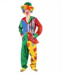 Костюм клоуна на взрослого: бант, безрукавка, головной убор, накладки на туфли, парик, пиджак, штаны (Италия)