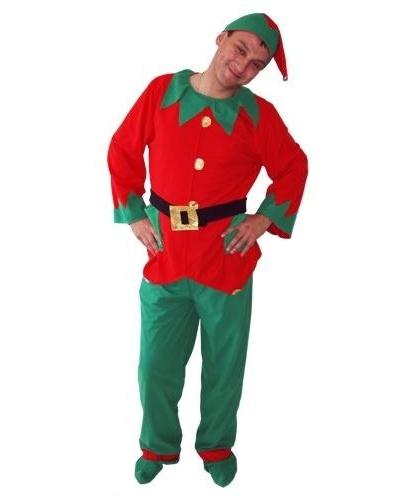 Взрослый костюм помощника Санта-Клауса: брюки, кофта, колпак, накладки на ботинки (Польша)