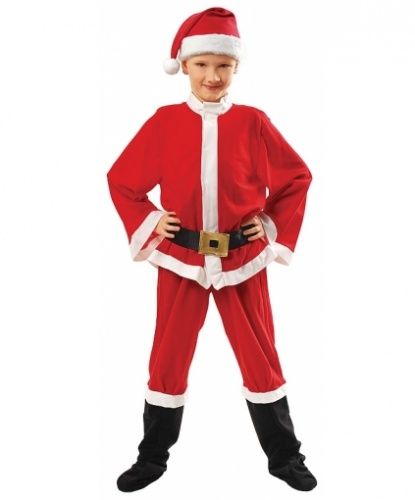 Костюм Санта-Клауса для мальчика: колпак, кофта, пояс, брюки с пришитыми накладками на обувь (Польша)