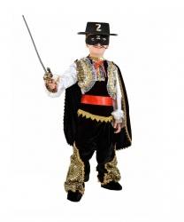 Детский костюм Зорро: кофта, штаны, шляпа, пояс, плащ, накладки на обувь. (Италия)
