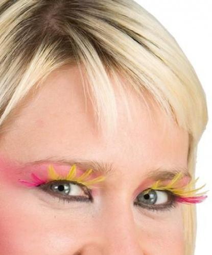 Накладные ресницы розово-желтые