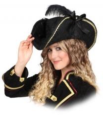 Черная пиратская шляпа с пером - Пираты и пиратки, арт: 6137