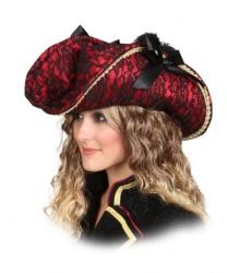 Пиратская шляпа из красной кружевной ткани - Пираты и пиратки, арт: 6138
