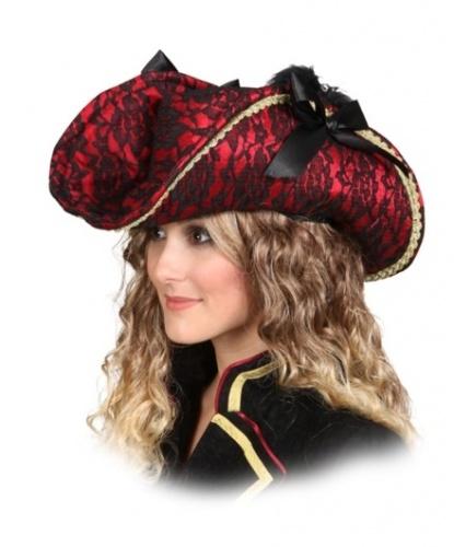 Пиратская шляпа из красной кружевной ткани (Германия)