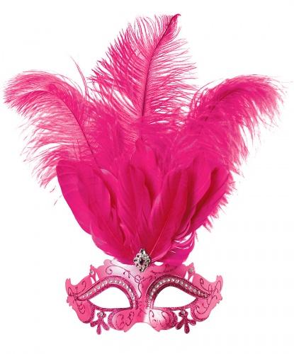 Розовая маскарадная маска, перья, стразы, пластик (Польша)