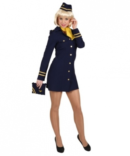Костюм стюардессы : платье, пилотка, платок на шею (Германия)