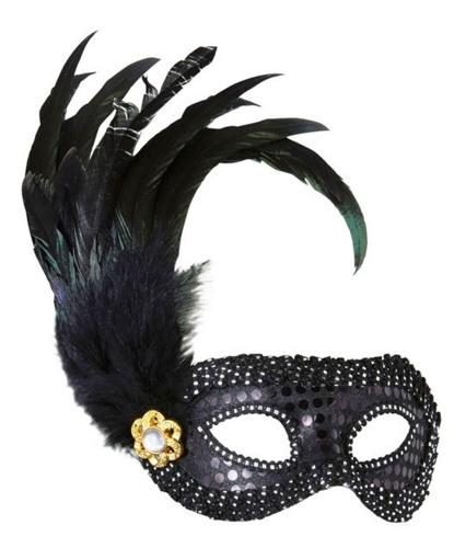 Черная маскарадная маска с перьями, пайетки, ткань, пластик, перья, полиэстер (Италия)