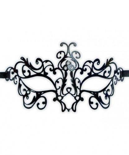 Венецианская маска черная Bocciolo, металл, стразы (Италия)