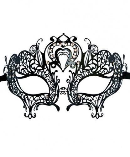 Венецианская Маска Colombina Cuore черная, металл, стразы (Италия)