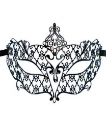 Венецианская черная маска со стразами