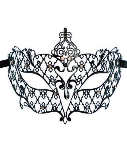 Венецианская черная маска со стразами, стразы, металл (Италия)