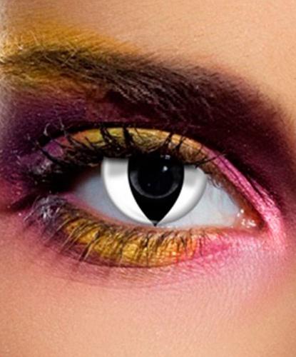 Линзы кошачий глаз белые, без диоптрий, срок ношения 90 дней (Великобритания)