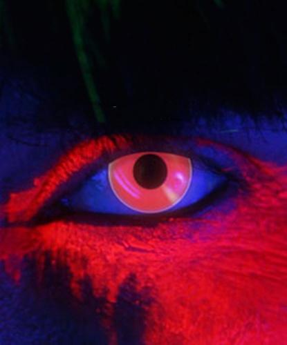 Линзы красные светящиеся в УФ, без диоптрий, срок ношения 1 год (Англия)