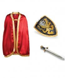 Красный рыцарский плащ, щит и меч