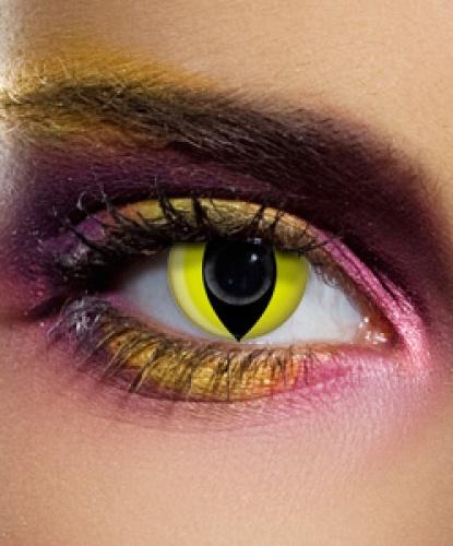Линзы жёлтый кошачий глаз, без диоптрий, срок ношения 90 дней (Англия)