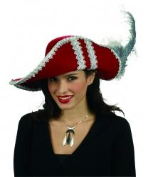 Красная фетровая шляпа флибустьерши - Пираты и пиратки, арт: 6291