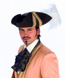 Треуголка коричневого цвета с белым пером - Пираты и пиратки, арт: 5220