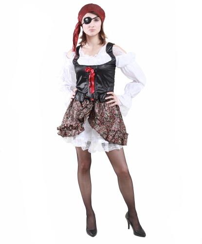 Костюм буканьерки: блузка, головной убор, наглазник, юбка (Германия)