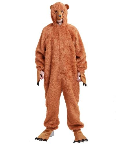 Взрослый костюм медведя: капюшон с маской, комбинезон (Германия)
