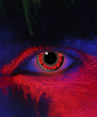 Линзы красно-черные светятся в УФ, без диоптрий, срок ношения 1 год (Великобритания)