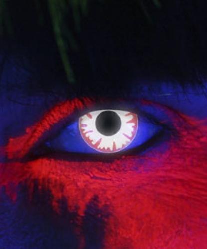 Линзы светящиеся в УФ Белый демон, без диоптрий, срок ношения 1 год (Великобритания)