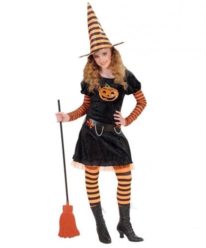 Костюм на Хэллоуин Ведьма: платье, пояс, колпак (Италия)