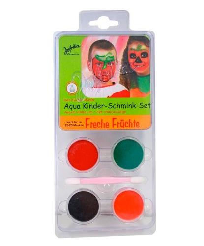 Набор аквагрима, 4 цвета: оранжевый, зеленый, красный, черный (Германия)