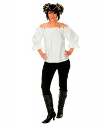 Белая пиратская блузка с открытыми плечами