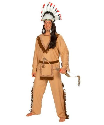 Костюм индейца на взрослого: брюки, кофта, пояс (Германия)