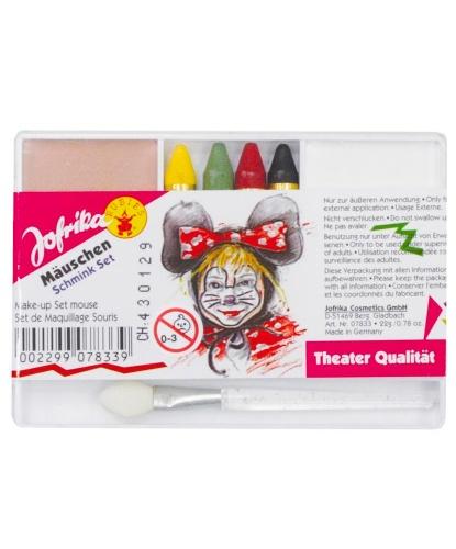 Набор грима, 2 цвета + 4 карандаша, кисточка: черный, белый, розовый, желтый, зеленый, красный (Германия)