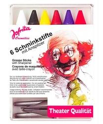 Набор грима, 6 карандашей, точилка: черный, белый, коричневый, синий, желтый, красный (Германия)