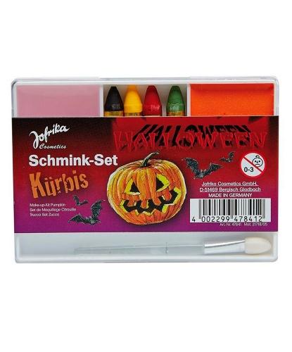 Набор грима, 4 карандаша, кисточка + 2 цвета: красный, черный, оранжевый, розовый, желтый, зеленый (Германия)