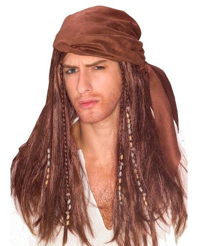 Парик Карибский пират: коричневый (Германия)