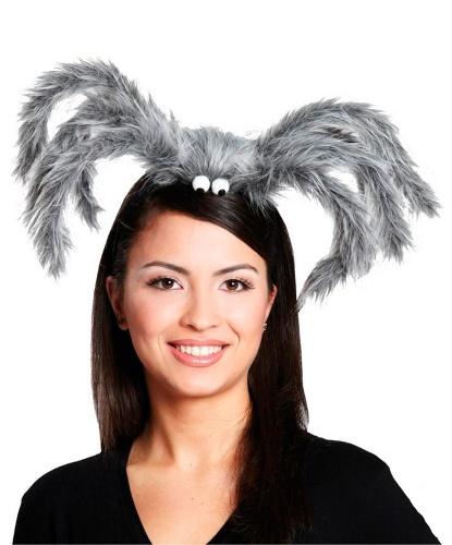Серая шляпка-паук на ободке, иск. мех (Германия)
