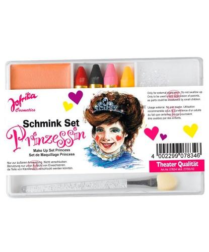 Набор грима, 4 карандаша, блестки, кисточка: красный, черный, бесцветный, прозрачный, розовый, желтый, бежевый (Германия)