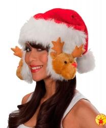 Колпак Санта Клауса с оленьими ушами - Новогодние колпаки, арт: 5130