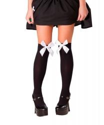 Чулки черные с белыми бантами - Чулки, колготки, арт: 5358