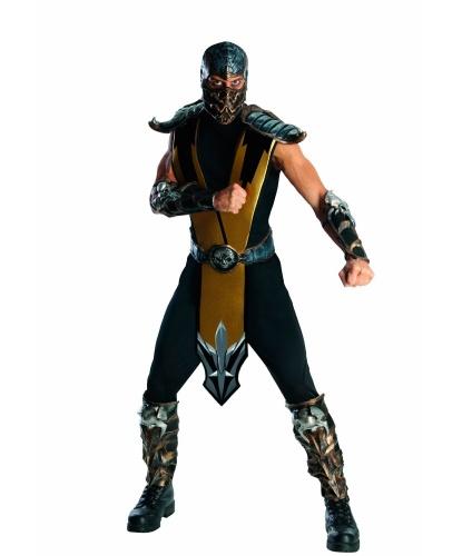Купить костюм Scorpion Mortal Combat: штаны, кофта, маска, пояс, накладки на руки, ноги и плечи (Германия)