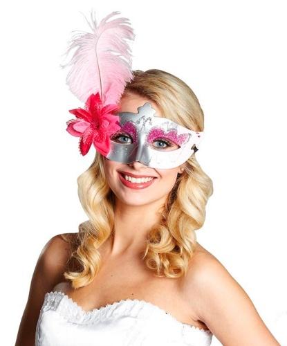 Маскарадная маска серебристо-розовая, пластик, перья, полиэстер (Германия)