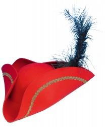 Красная пиратская треуголка с пером