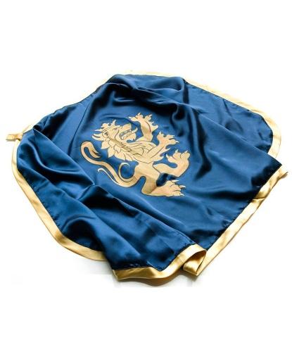 Синяя рыцарская накидка с золотым львом и меч со щитом: накидка длиной 75 см, меч 57 см, щит (Дания)