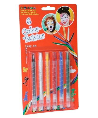 6 аква карандашей: желтый, зеленый, красный, синий, белый, черный
