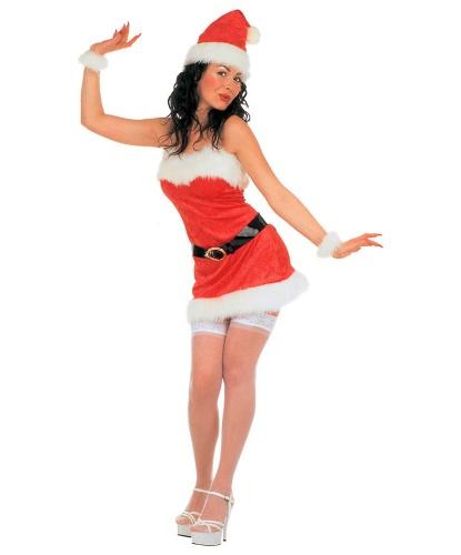 Красное новогоднее платье Санты: платье, колпак, пояс, напульсники (Италия)