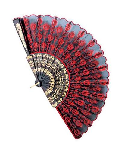 Веер с красной вышивкой (Италия)