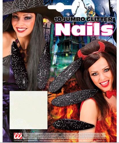 Накладные черные ногти : 12 ногтей (Италия)